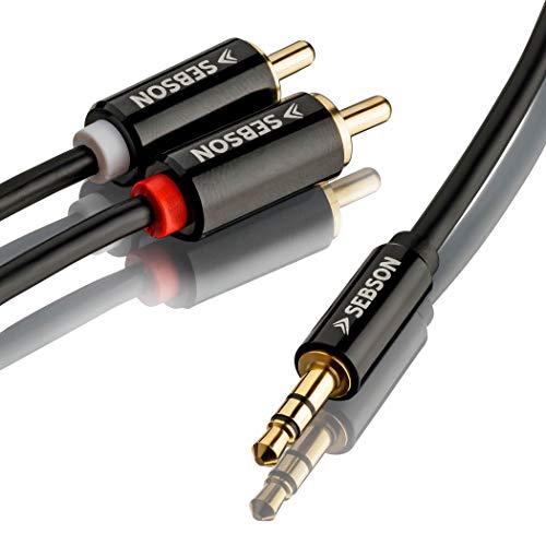 SEBSON Audio Kabel 2m, Jack 3,5mm naar 2 Tulp Stekker, RCA naar Jack, mannelijk verguld afgeschermd