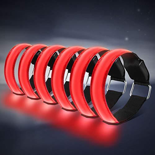 HEAWAA 6 Stück LED Armband, Reflective LED leucht Armbänder Lichtband Kinder Nacht Sicherheits Licht für Laufen Joggen Hundewandern Running und andere Outdoor Sports (Rot)