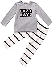 2Pcs Infant Baby Boy Fall Clothes Lazy Days Print Top T-Shirt Striped Pants Outfit Clothing Set (Gray, 6-9Months)