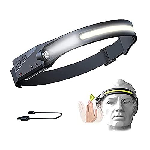 Linternas Frontales Led Alta Potencia, Linterna Frontal LED USB Recargable, Linterna de Cabeza IPX4 Impermeable, 5 Modos de Uso Headlight para Correr, Acampar, Pescar, Ciclismo