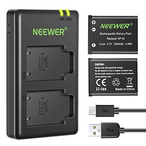 Neewer NP-45 NP-45A NP-45B NP-45S Cargador de Batería de Repuesto Set para Fujifilm INSTAX Mini 90 FinePix XP50 XP60 XP70 XP80 XP90 XP120 XP130 XP140 T550 T560 (2-Pack 1200mAh)