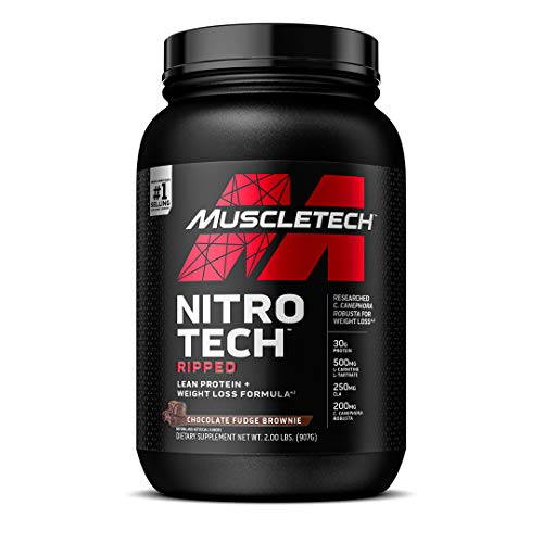 Protein Powder for Weight Loss | MuscleTech Nitro-Tech Ripped | Whey Protein Powder + Weight Loss Formula | Lose Weight | Weight Loss Protein Powder for Women & Men | Chocolate, 2 lb(package may vary)