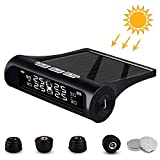 igingko Car Tire Pressure Monitoring System TPMS Wireless Smart Tire Safety Monitor, Solar Power Universal Wireless with 4 External Cap Sensors, 6 Alarm Modes, Real-Time Pressure & Temperature Alerts…