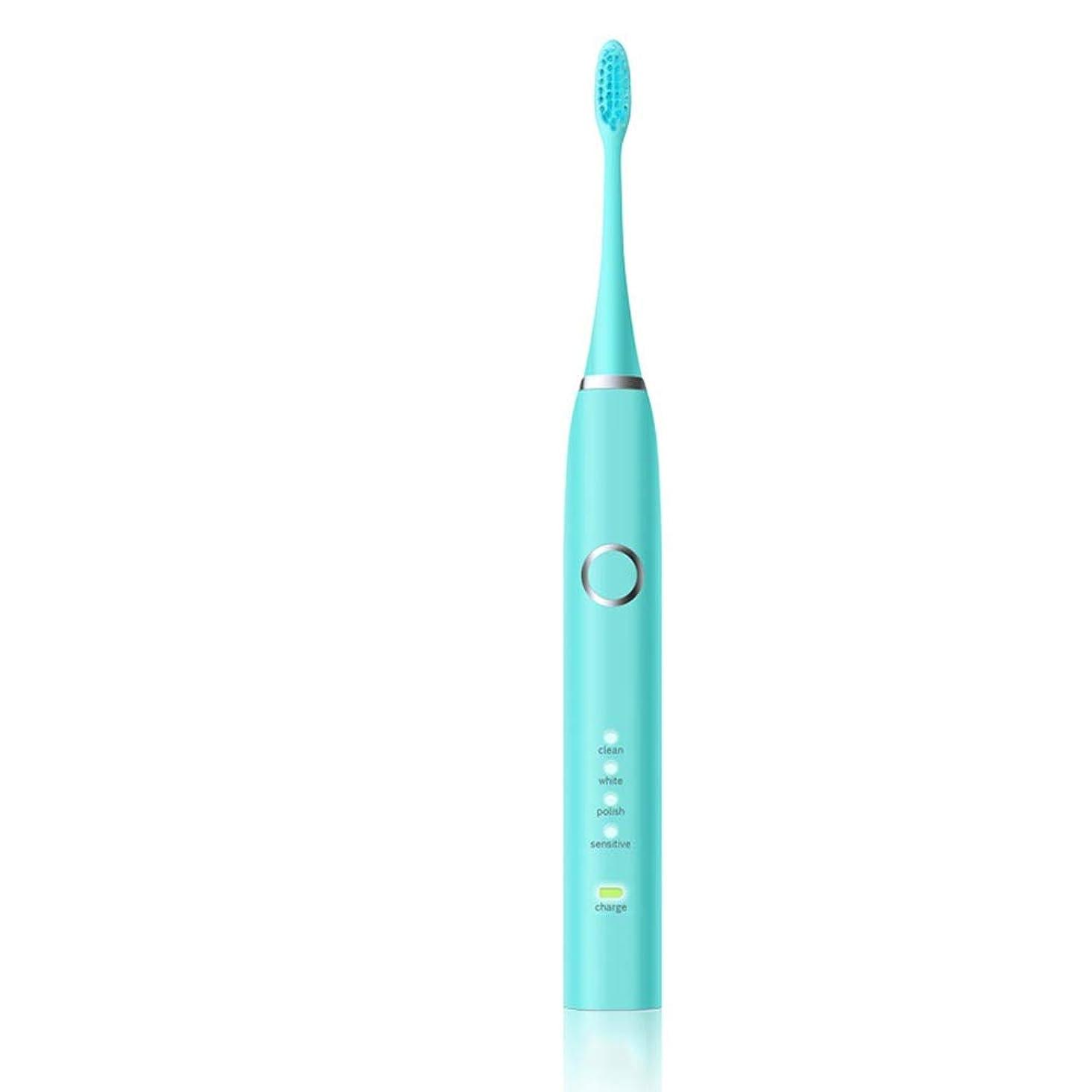 電動歯ブラシ 毎日の使用のための歯ブラシを白くするUSB??の充満ベースホルダーの柔らかい毛と防水電動歯ブラシ 大人と子供向け (色 : 緑, サイズ : Free size)