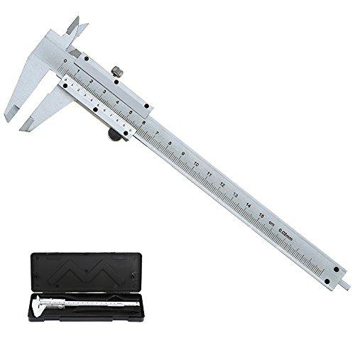 Littlegrasseu Calibrador del Vernier Micrómetro Pie de Rey Herramienta de Medición del Micrómetro Acero Inoxidable para Medidas de Precisión 150mm Exterior Interior