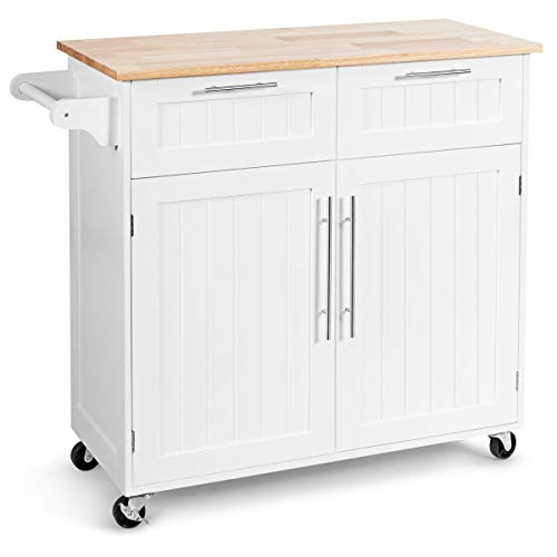 Giantex Kitchen Island Cart Rolling Storage Trolley Cart Home and Restaurant Serving Utility Cart with Drawers,Cabinet, Towel Rack and Wood Top (White)