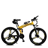 Las Bicicletas Eléctricas Plegable Bicicleta De Montaña, De 26 Pulgadas 36V / 8Ah Adulto E-Bici Con Extraíble De Iones De Litio, 3 Ciclismo Montar Modos De 2 Modos De Batería,Amarillo,kettle battery