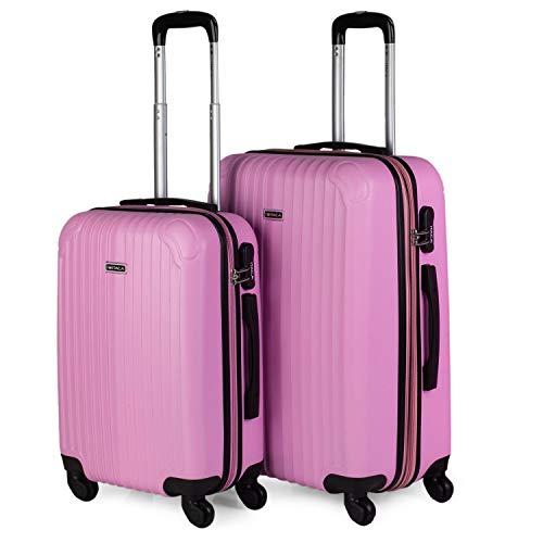ITACA - Juego de Maletas de Viaje Ligeras 2 Pzs. Set Trolley ABS 4 Ruedas (Cabina + Mediana) Rígidas y Resistentes. Conjunto Equipaje Avión. t71515, Color Rosa