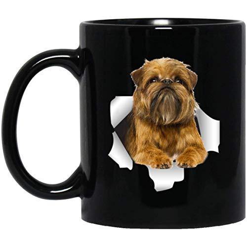 N\A Divertida Taza Gris Dorada de grifón de Bruselas para Hombres, Mujeres, Amantes de los Perros, Taza de café Negra