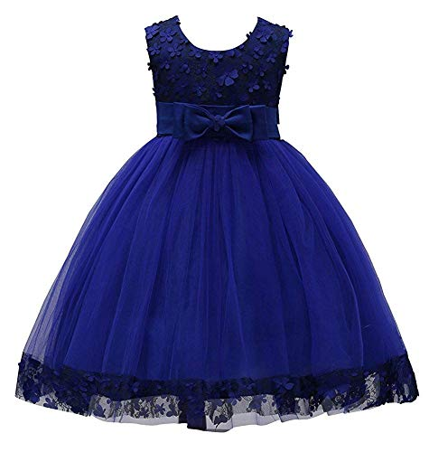 Girl Ball Gown Dresses Sleeveless 12-18 Months Lace Tulle Toddler Girl Dresses 3T Princess Wedding Navy Little Girl Dresses Size 4T 4/5 Tea Length Blue Special Occasion Tops (Navy 100)