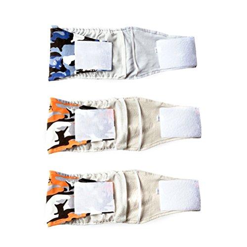 POPETPOP 3pcs maschio pet cane pancia avvolgere banda pannolino pannolini pantaloni cucciolo biancheria intima sanitaria - taglia S (modello casuale)