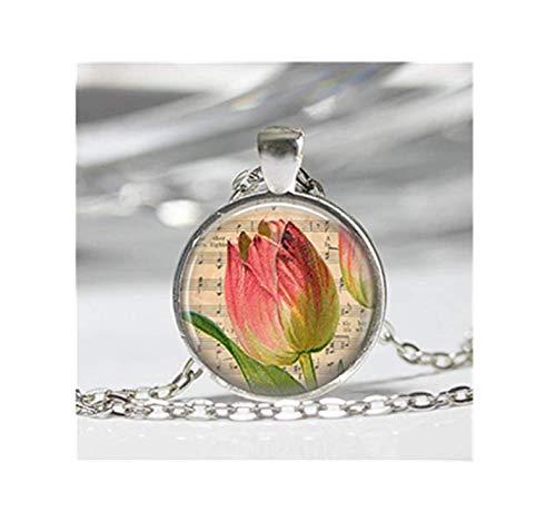 Halskette mit Tulpenmotiv, Rosa