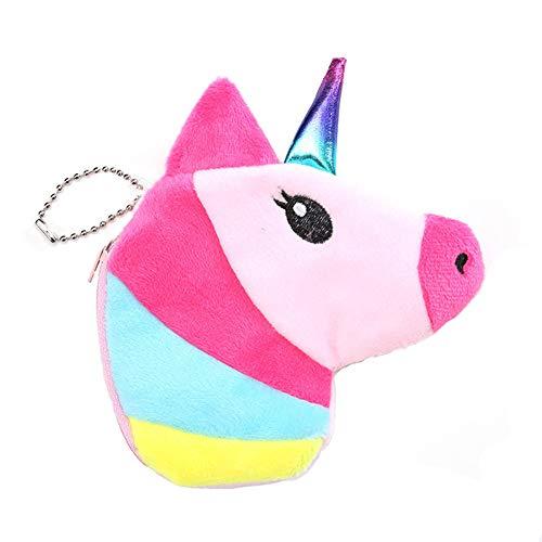 JUNGEN Monedero Unicornio Colorido Billetero pequeño y Creativo para Mujer Niña Cartera Cremallera Bolsa de Almacenamiento de Moneda y Dulces Bolsillo Monedero Regalo (Rosa)