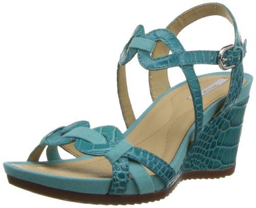 Geox D New Roxy A, Sandali Punta Aperta Donna, Blu (Turquoise), 35