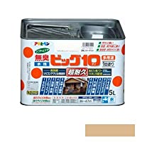[A] アサヒペン [無臭]水性ビッグ10 多用途 ソフトなツヤ ベージュ 5L [水性多用途塗料]