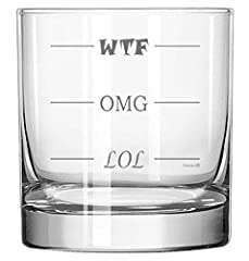 Funny LOL-OMG-WTF Rocks Glass! Finally, a Highball Glass for Every Mood! GREAT GIFT for birthdays, holidays, friends and family who enjoy some humor on the rocks 100% PERMANENT: Sandblast etched design is dishwasher safe, won't wear off QUALITY GLASS...