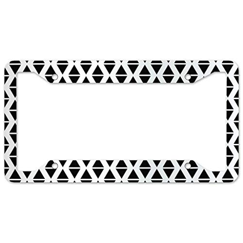 Triangle Pattern License Plate Frame 4 Pieces Design License Plate Frame With 4Holes Fite For Bar white 16x31cm