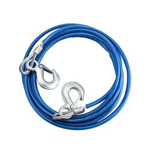Riloer Cuerda de remolque, 4 m, 5 toneladas, cable de alambre de alta resistencia, ganchos de acero, para remolques de coche en caso de emergencia