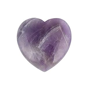 """Bingcute Natural Amethyst Pocket Carved Puff Heart Pocket Stone,Healing Palm Crystal Pack of 1(1.6"""")"""