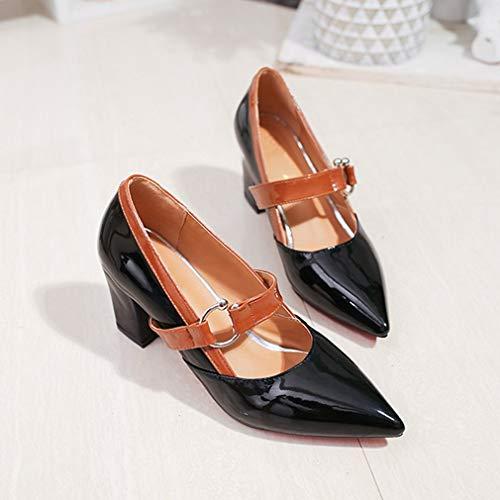 Elegantes Zapatos Casuales de tacón Medio Mary Jane, Zapatos de PU con Punta en Punta con decoración de Anillo de Metal con tacón Cuadrado de 7 cm para Mujer, Negro, 38 Uniquelove