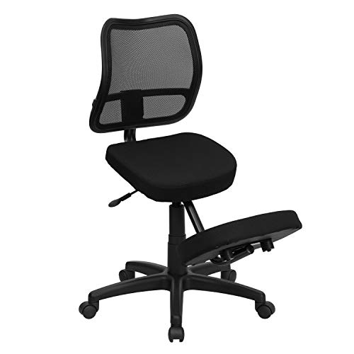 Flash Furniture Mobile Ergonomic Kneeling Swivel Task Office Chair with Black Mesh Back and Fabric Seat