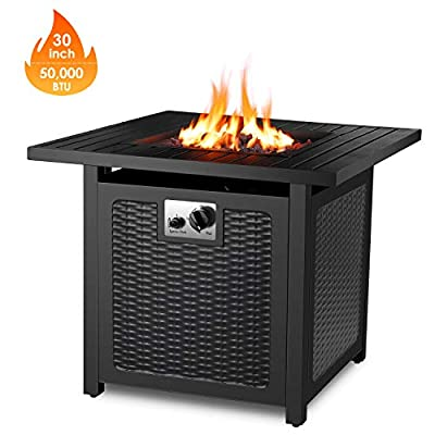 "FIXKIT 30"" Propane Fire Pit Table, 50,000 BTU Auto-Ignition Gas Fire Table with Waterproof Firepit Table Cover & Lava Rock, CSA Certification, Outdoor Square Fireplace for Courtyard/Balcony"