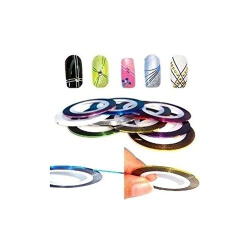 12 rollos de colores variados de nail art cinta con pegatinas de decoración líneas by RIVENBERT