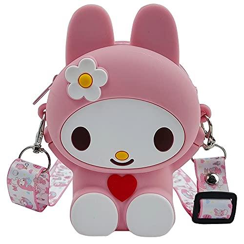 Borsa a Tracolla per Bambine, Silicone Borsetta Bimba Carino Crossbody Regolabile Messenger Tracolla Borsa a Tracolla per Bambina Carina (Pink)