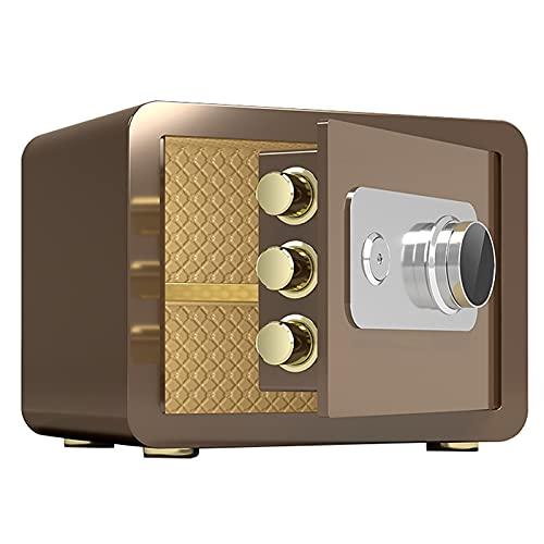 Caja Fuerte Cajas Fuertes Incombustibles,Pequeña Caja Fuerte Mecánica para Uso Doméstico,Armario De Acero Resistente Al Agua Y Antirrobo(Color:Oro Cafe)