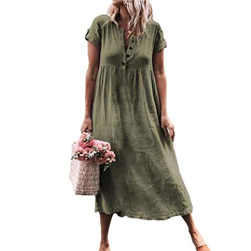 Mujer Flojo Vestidos Largo Elegante Cuello V Color Sólido Lino Vestido Camisero Playero para Cóctel Fiesta Noche S-5XL
