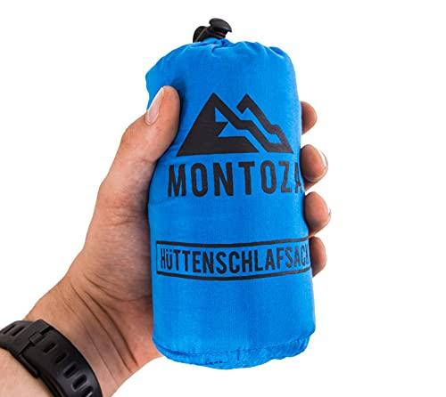 montoza Hüttenschlafsack - Ultraleicht 170g blau - Inlett aus Seide und Baumwolle - Reiseschlafsack leicht, dünn, warm