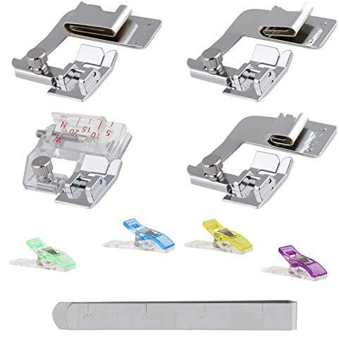 LIHAO - Piedini per orlo arrotolato, per macchina da cucire, pinza per orlo, clip in plastica per marcatura, set da 9 pezzi