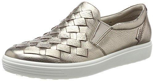 ECCO Women's Soft 7 Slip Fashion Sneaker, Warm Grey Woven, 38 EU/7-7.5 M US
