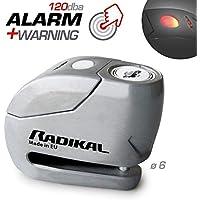 Radikal RK9Z Candado Antirrobo Moto Disco Alarma 120dba + Warning, ø6, Fabricado en Europa, INOX, 6