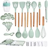 Aekohaus Silicone Cooking Utensil Set Spatulas All in One With Wooden Handle Holder Measuring cups and spoons Non-stick Cookware Set with vegetable chopper Accessories