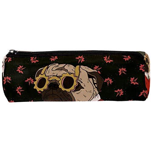 TIZORAX Rode Trui Bulldog Pencil Case Pen Rits Tas Coin Organizer Make-up Kostmetische Tas voor Vrouwen Tiener Meisjes Jongens Kids