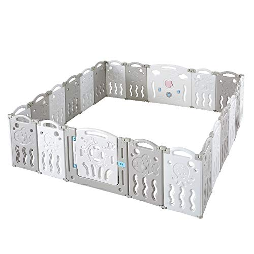 Albott Baby Playpen 22 Panel Baby playpen Folding Play Pen Kids Activity Center Safety Play Yard Home Adjustable Shape, Portable Design for Indoor Outdoor Use (Grey+White, 22 Panel)