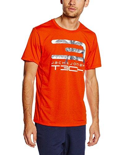 JACK & JONES Tech Herren T-Shirt JJ TC Beach Short Sleeves Crew Neck Tee 2, Orange.Com, S