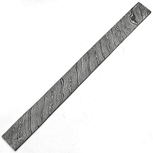 SATA 9020 zwarte lijn, patroon 60 cm x 5 cm x 5 mm, handgemaakt damaststaal billet/bar voor het maken van messen, sieraden | bestek en andere doeleinden