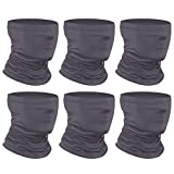 Anstronic [6-Pack] Neck Gaiter Scarf, Face Mask Sunscreen Breathable Bandana for Men Women Cycling Hiking Fishing (Gray)