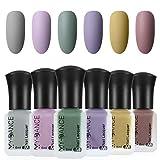 Ownest 6 Colors Matte Nail Polish Set, Mist Effect Matte Velvet Nail Polish,Long Lasting Velvet Nail Polish Nail Art-#A