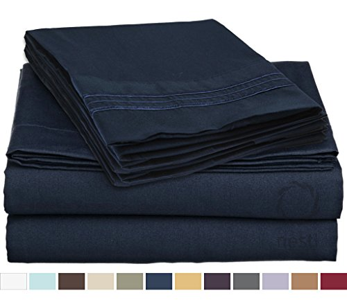HIGHEST QUALITY Bed Sheet Set, #1 on Amazon, Queen Size, Navy Blue, - Super Soft, Silky Coziest Sheet – SALE! - Better than Cotton, Will Fit Deep Pocketed Mattresses - Wrinkle, Stain and Fade Resistant Hypoallergenic Fabric - Set Includes Luxury Fitted and Flat Sheets and Pillow Cases. Ideal for Your Bed! Best for Your Bedroom, Guest or Children's Room, Vacation Home and RV - Makes an Excellent Gift - LIFETIME 100% Included - Nestl Bedding