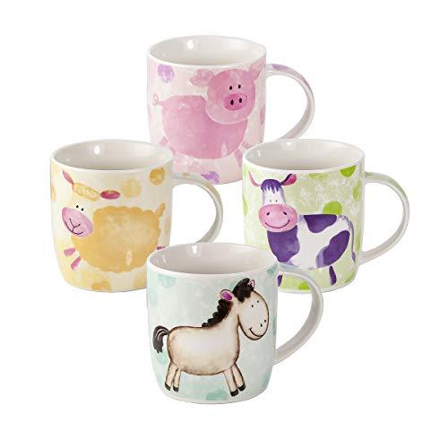 Set de 4 tazas de desayuno con diseño de animales de granja: oveja, cerdo, vaca y caballo