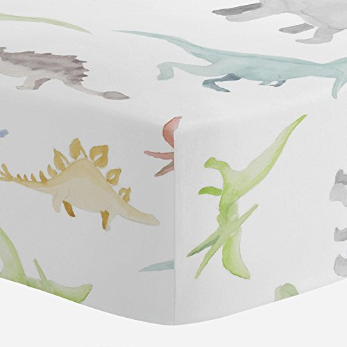Carousel Designs Watercolor Dinosaurs Crib Sheet - Organic 100% Cotton Fitted Crib Sheet - Made in The USA