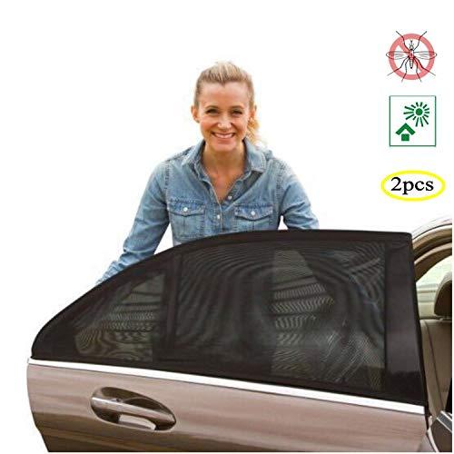 Universele zonwering auto baby 2 stuks, met UV bescherming voor kinderen, zonnescherm auto gordijn zomer, voor de meeste zijruiten (L)