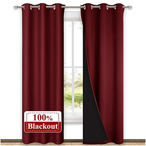 NICETOWN 100% Blackout Curtains with Black Liner Backing, Thermal Insulated Curtains for Living Room, Home Decoration, Burgundy Red, 42 inches Wide x 84 inches Long Per Panel, Set of 2 Panels
