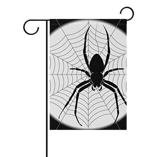 JIRT Jardin Drapeau 30,5 x 45,7 cm (30,5 x 45,7 cm) Lune Nuit Animal araignée Insectes Halloween Polyester Banner Double Face pour intérieur ou extérieur pelouse Cour Décoration, Image 603, 12x18(in)