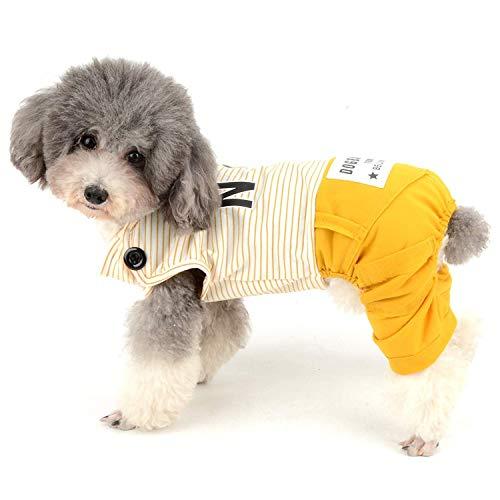 WEIJ Hond Katoen Outfits voor Kleine Honden Gestreepte Huisdier Shirts met Broek Doggy Leuke Letter Print Jumpsuit Zomer Doggie Vierpoots Kostuum, XL, Geel