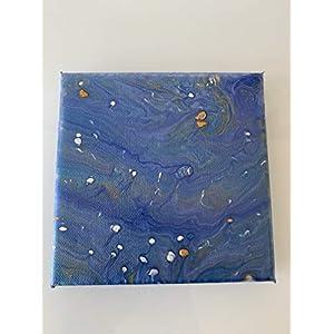 Acryl Pouring 15×15 blau weiß gold