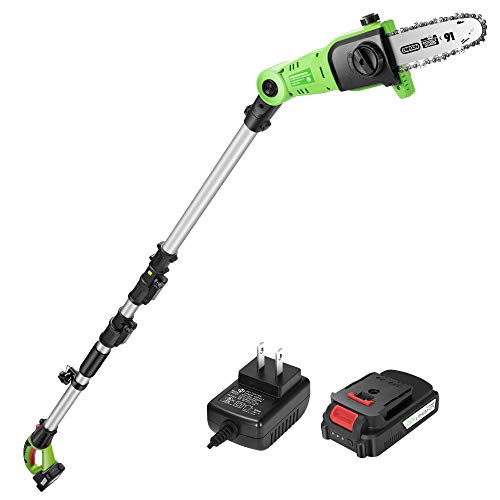 VIVOSUN 10ft 20V Cordless Pole Chainsaw with Battery, LED Indicator and Adjustable Head